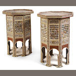 A pair of Levantine shell, bone and tortoiseshell parquetry octagonal tables