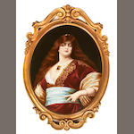 A KPM porcelain plaque depicting a noblewoman<br>late 19th century