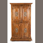 A Spanish Colonial Baroque silver-gilt and mixed wood cabinet<br>first half 18th century