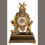 A fine Louis XIV style gilt and patinated bronze mantel clock<br>fourth quarter 19th century