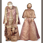Two Italian polychrome carved wood and clothed figures of priests<br>18th/19th century