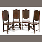 A set of eight Portuguese Baroque style brass mounted walnut chairs<br>late 19th century