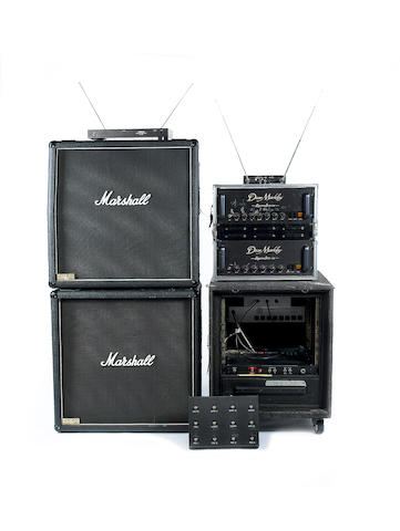 A pair of 1980s Dean Markley Signature Series 120 and 1980s Bradshaw Switching System with 1980s Marshall JCM-800 1960A/B speaker cabinets, comprising:a lot