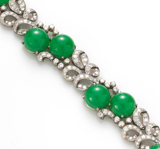 A jadeite jade and diamond bracelet