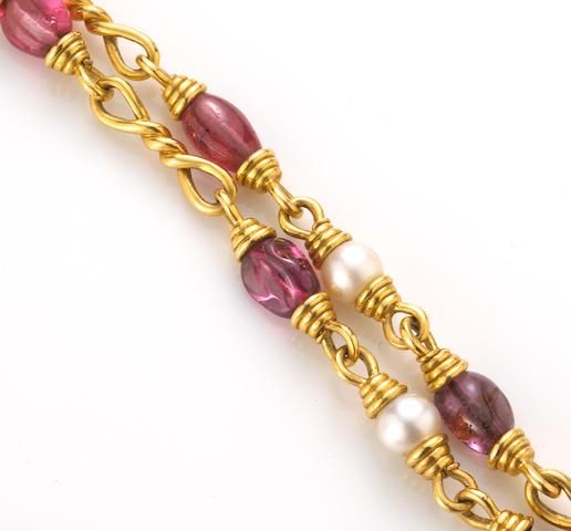 A pink spinel and cultured pearl necklace, David Webb
