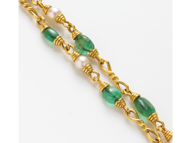 An emerald, cultured pearl and eighteen karat gold necklace, David Webb