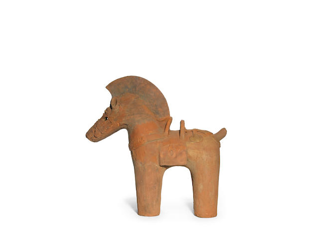 A haniwa red pottery figure of a horse Kofun Period, 6th century