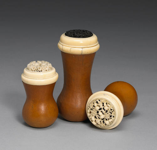 Three Chinese ivory-mounted gourd cricket cages