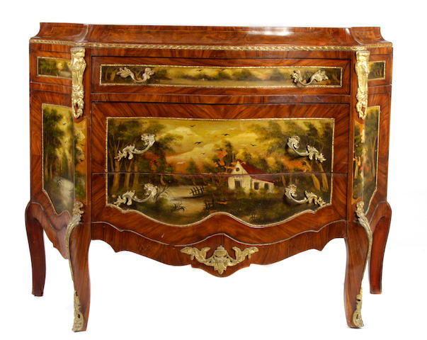 A Louis XV style gilt bronze mounted paint decorated mahogany commode