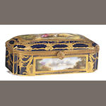 A Sèvres style porcelain gilt bronze mounted rectangular table box <br>signed D. Bertren<br>late 19th/early 20th century