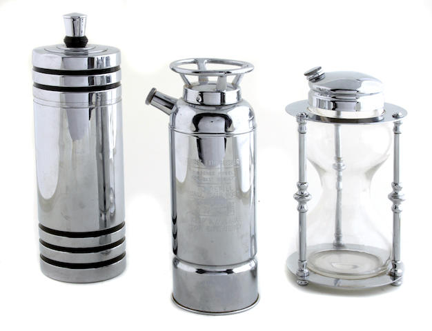 A group of Farberware, Napier and other cocktail shakers