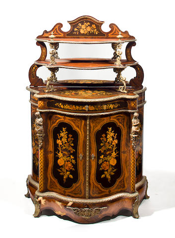A Napoleon III gilt bronze mounted marquetry two-part cabinet third quarter 19th century