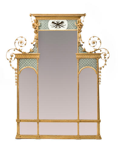 A George III giltwood and verre eglomise mirror<br>circa 1790