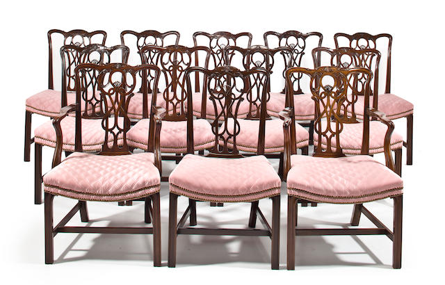 A set of twelve George III and George III style mahogany dining chairs