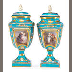 A pair of Sèvres style jeweled porcelain covered urns<br>second half 19th century