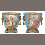 A pair of Sèvres style porcelain gilt bronze mounted jardinières <br>late 19th century