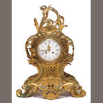 A French gilt bronze mantel clock <br>late 19th century