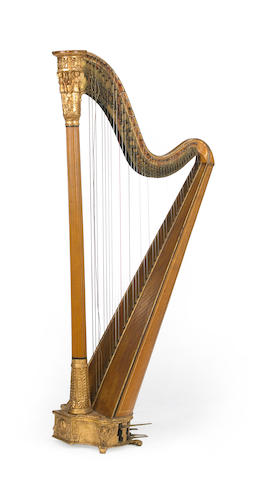 A Victorian Neoclassical style parcel gilt pedal harp Jacob & James Erat, London mid 19th century