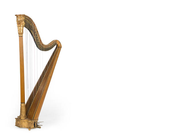 A Victorian Neoclassical style parcel gilt pedal harp<br>mid 19th century