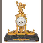 A Louis XVI style gilt bronze and marble figural mantel clock <br>second half 20th century