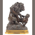 A French patinated and parcel gilt bronze group: Lutte Critique <br>after Edme-Nicolas Faillot (French, 1810-1849)<br>late 19th century