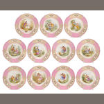 Eleven Sèvres style porcelain cabinet plates <br>signed Debrie<br>retailed by Ovington Bros., New York<br>late 19th century