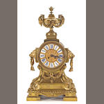 A Louis XVI style gilt bronze mantel clock<br>late 19th/early 20th century
