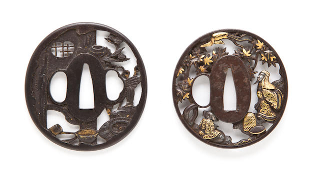 Two iron sukashi tsuba Edo period, 18th-19th century