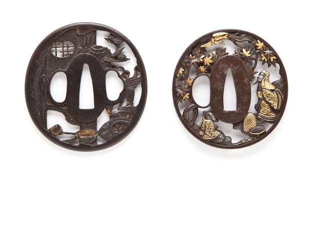 Two iron sukashi tsuba Edo period, 18th-19th century