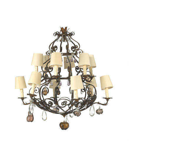 TBI ** a continental drop crystal chandelier, if 19th century