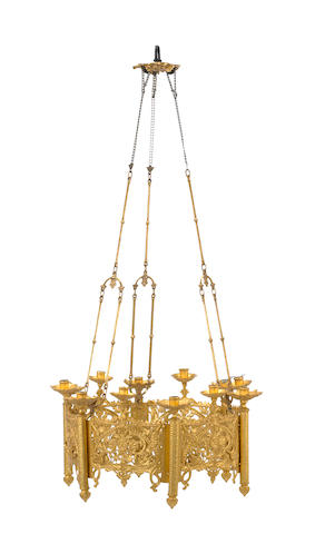 A set of four Gothic style gilt metal chandeliers