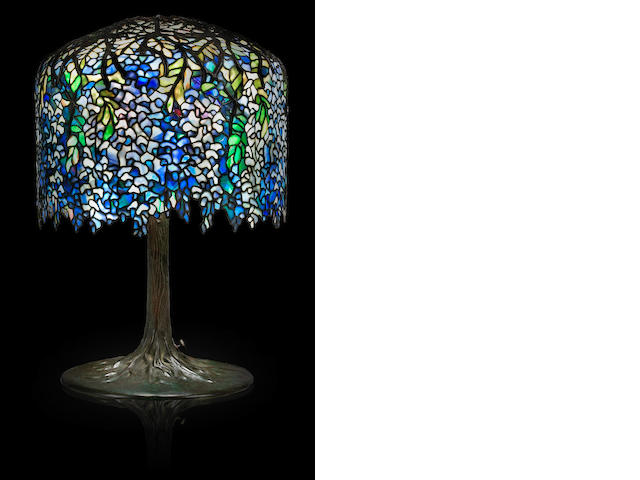 A Tiffany Studios Favrile glass and bronze Wistaria table lamp