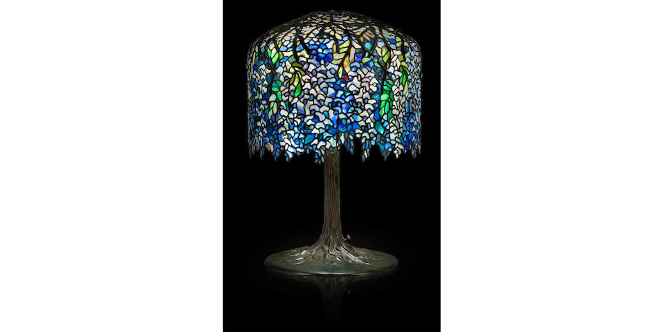 A fine Tiffany Studios Favrile glass and bronze Wisteria table lamp 1899-1918