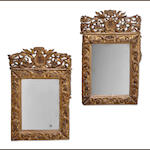 A pair of Continental Neoclassical giltwood mirrors<br>probably Spanish or Italian<br>fourth quarter 18th century