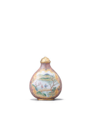 A very rare and unusual enameled white glass snuff bottle Imperial, Palace workshops, Qianlong four-character mark and of the period, circa 1750-1780