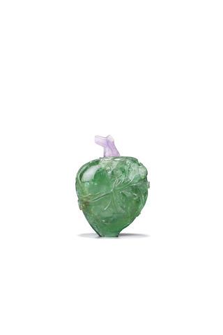 A green tourmaline or beryl 'peach' snuff bottle 1760-1850