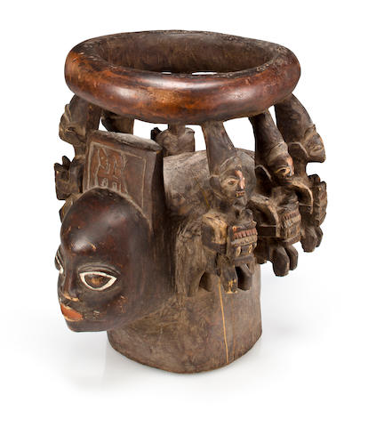 A large Yoruba style carved wood headdress Nigeria, modern