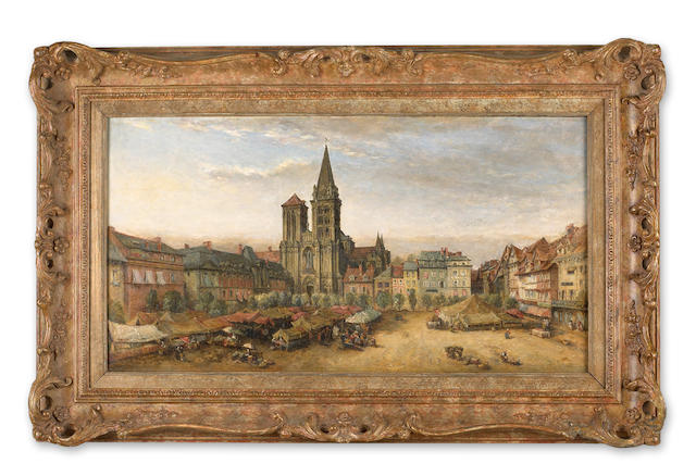 (n/a) James Robertson Collie (Scottish, circa 1820-circa 1880) The cathedral of St. Pierre and market place, Lisieux, Calvados, France 16 x 30in