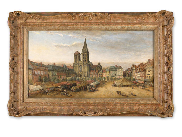 James Robertson Collie (Scottish, circa 1820-circa 1880) The cathedral of St. Pierre and market place, Lisieux, Calvados, France 16 x 30in