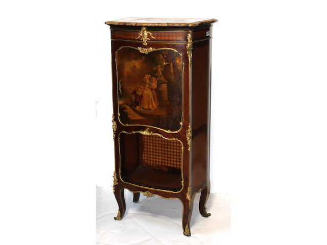 A Louis XV style Vernis Martin gilt metal mounted parquetry vitrine cabinet late 19th century