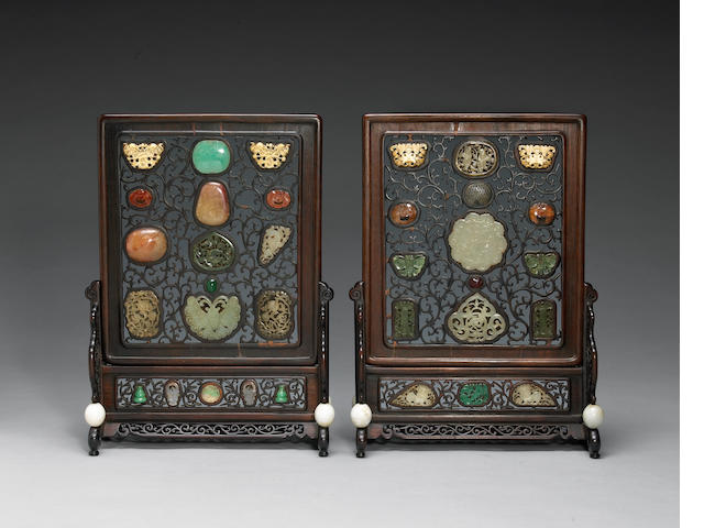 Two reticulated hardwood table screens with jade, hardstone, glass and ivory overlay