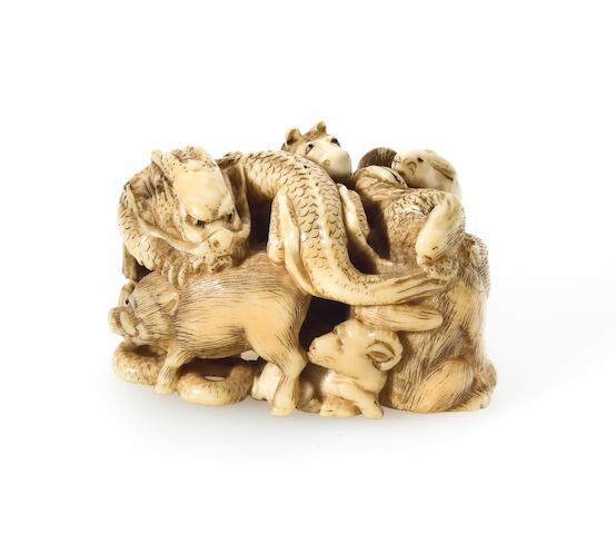 Ivory netsuke of a group of zodiac animals, signed Chokusai Nagahisa ex. Hickmont