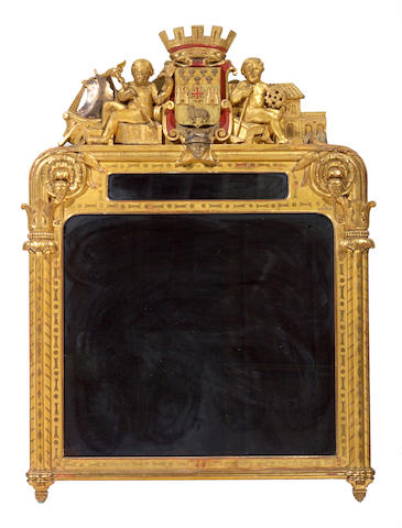 A Renaissance style giltwood and painted mirror second half 19th century