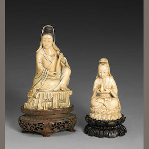 Group of two ivory figures of seated Guanyin 20th Century
