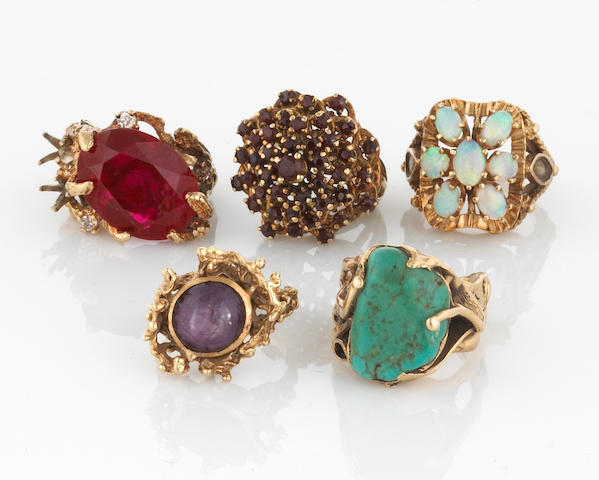 A collection of five diamond, gem-set, turquoise and 14k gold rings