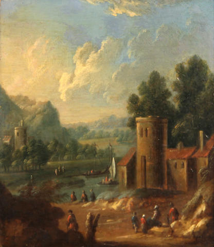Mathys Balen (Dordrecht 1684-1766) Figures by a tower with small boats on a river beyond 6 x 5 1/2in