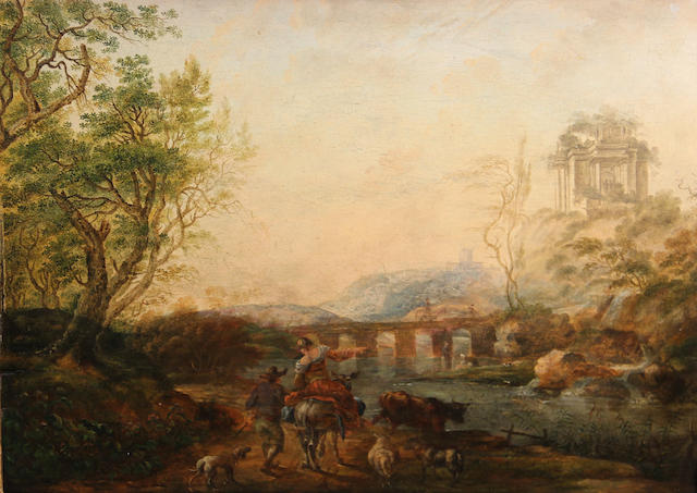 Dutch School, 18th Century A landscape with a woman seated on horseback with a man walking beside her in the foreground, a bridge and a temple in the distance 10 1/4 x 13 1/2in