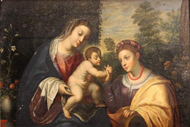 Flemish School, late 17th Century The Mystical Marriage of Saint Catherine 12 x 17 1/4in