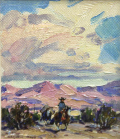 Marjorie Jane Reed (American, 1915-1996) Desert eve sight: 4 1/2 x 3 1/2in