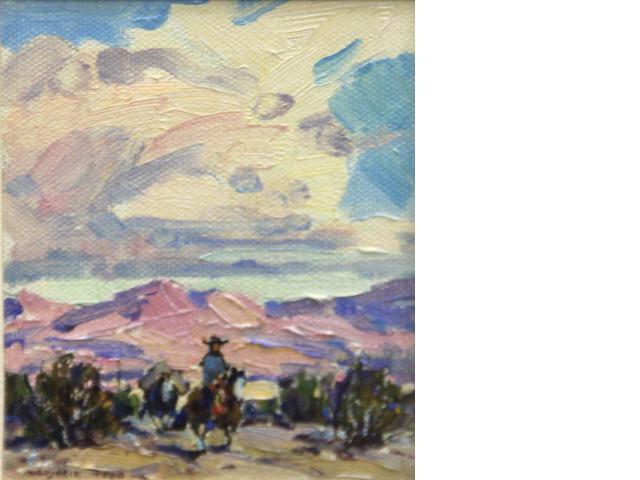 Marjorie Jane Reed (American, 1915-1996) Desert eve sight: 4 1/2 x 3 1/2in